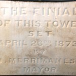 Plaque commemorating the completion of the finial of the clocktower, 26 April 1873 Photo Greg Piper