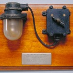 Lamp and switch recovered from a Type A Japanese midget submarine in Sydney Harbour, 1942 Sydney Town Hall Collection 88-109 Photo Greg Piper