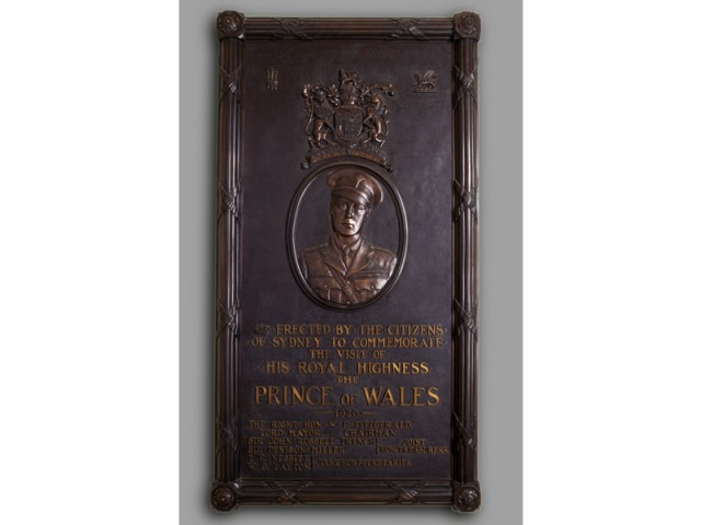 Plaque commemorating royal visit